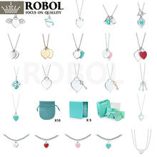 1: 1 colar pingente coração elegante prata esterlina 925 original joias joias femininas festa casamento frete grátis
