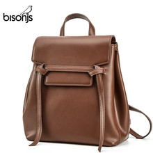 BISONJS Leather Women Backpacks Female Shoulder Bag Travel L