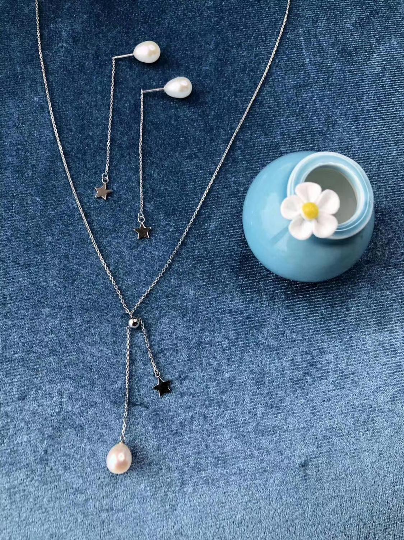 VOJEFEN véritable perle d'eau douce 925 en argent Sterling larme mariée élégant pendentif collier fait avec perle collier boucles d'oreilles