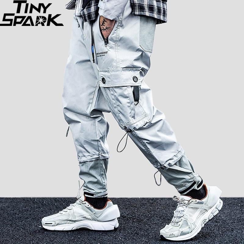 Men Hip Hip Cargo Pants Zipper Pockets Harajuku Streetwear Joggers Pants 2019 Casual Belt Tactical Pants Baggy Harem Trousers