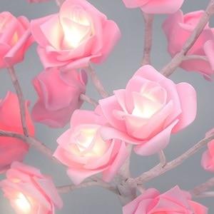 Image 5 - ตารางโคมไฟ 24LED Rose ดอกไม้จำลอง Tree Night Light ของขวัญเด็กบ้านห้องนอนข้างเตียงงานแต่งงานตกแต่งคริสต์มาส