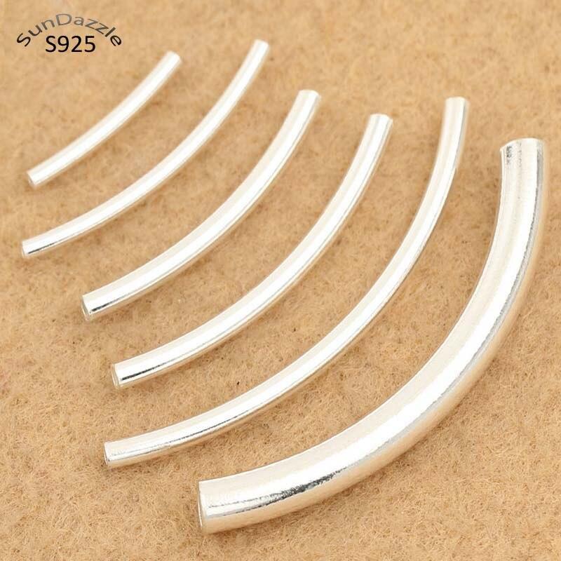 Закругленная трубка из серебра 925 пробы, браслет с длинными бусинами, ожерелье, ювелирных изделий|Ювелирная фурнитура и компоненты|   | АлиЭкспресс