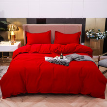 Solid Candy Color Duvet Cover Nordic Simple Red Orange Bedding Set Single Double Queen King 220x240 Bed Sheet Linens Bedclothes