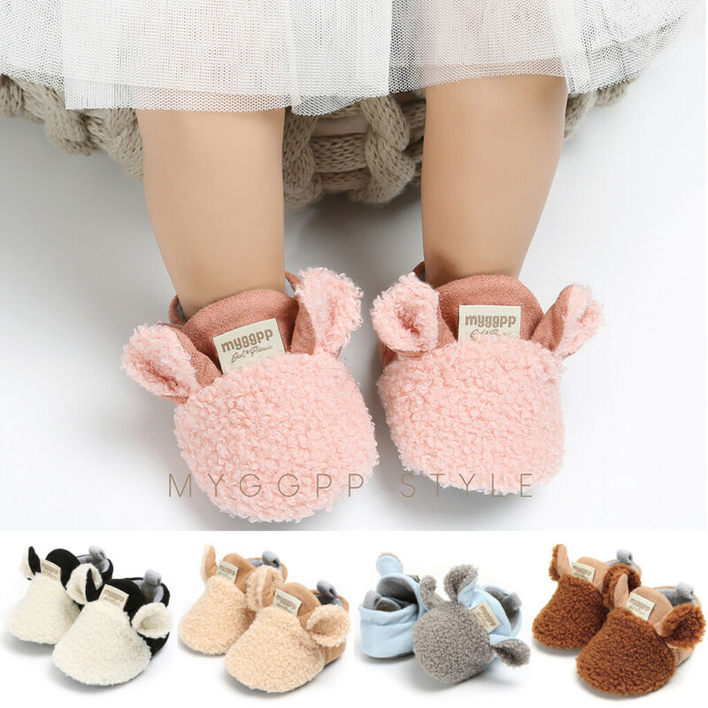 2019 Winter Newborn Shoes Cute Sheep Ears Baby Girl Snow Boots Shoes Baby Warm Soft Sole Plush Prewalker Toddler Baby Boys Shoes