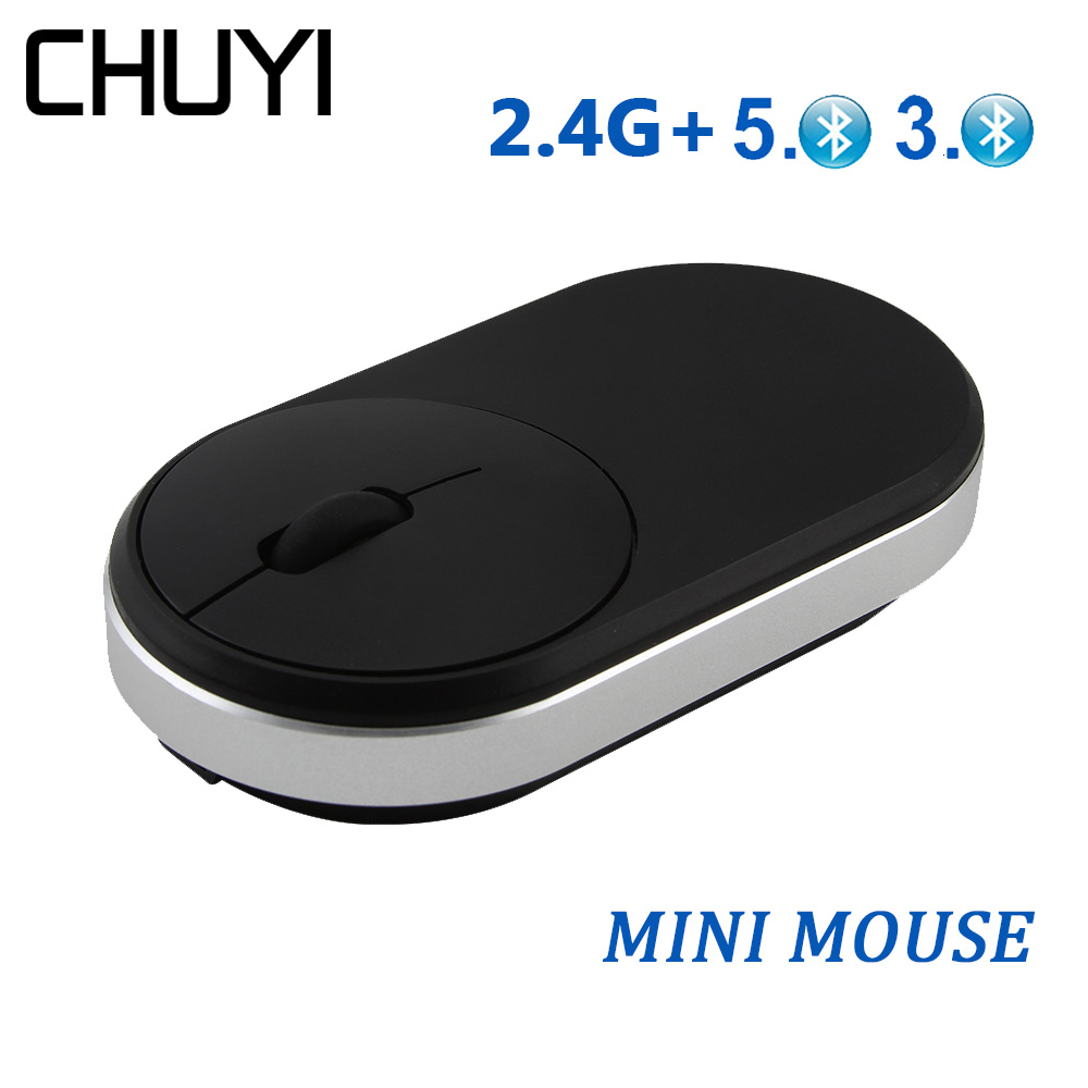 CHUYI Wireless 2.4G + Bluetooth 5.0 Mouse Rechargeable Optical USB Computer Mice DPI 1600 Laptop Mause For Office Gamer PC image