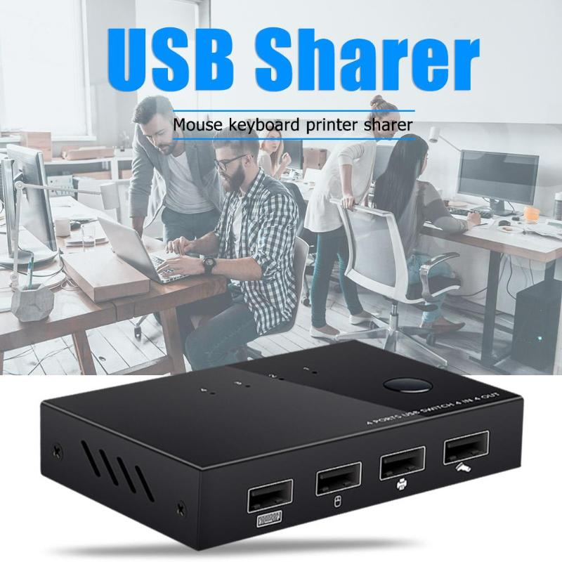 4 USB 2.0 KVM Switch Box Switcher Plug And Play For PC Sharing Keyboard Mouse Hard Disk Card Reader Printer Splitter 101x65x20mm