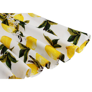 Image 4 - Feminino limão impresso saias curtas amarelo limão impresso cintura alta 50s 60s swing rockabilly a line midi saia de verão casual 2020