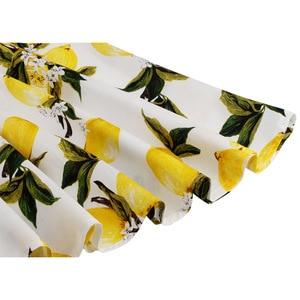 Image 4 - Kobiety Lemon spódnice żółty nadruk z cytryną wysokiej talii 50s 60s Swing Rockabilly plisowane spódnice Midi kobieta w stylu Casual, letnia spódnica 2019