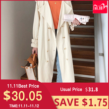"Womens Belted Double Breasted Cotton long Trench Coats windbreaker   women""s Winter cloths"