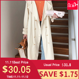 """Image 1 - Womens Belted Double Breasted Cotton long Trench Coats windbreaker   women""""s Winter cloths"""