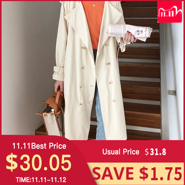 """Womens Belted Double Breasted Cotton long Trench Coats windbreaker   women""""s Winter cloths"""