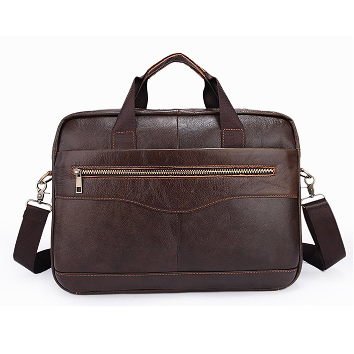 Osmond Fashion Men's Briefcases Genuine Leather Business Office 15'' Laptop Bag Luxury Brand Male Crossbody Messenger Bags 2019