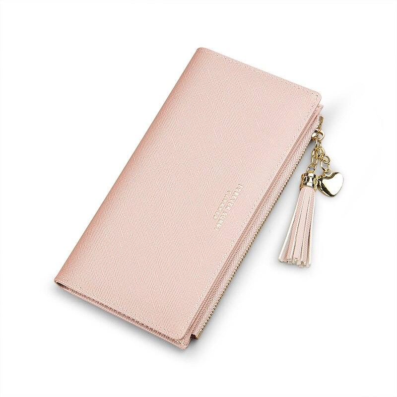 Женский кошелек с кисточками, длинный милый кожаный кошелек с кисточками, женские кошельки на молнии, Женский кошелек, клатч, Cartera Mujer - Цвет: Pink