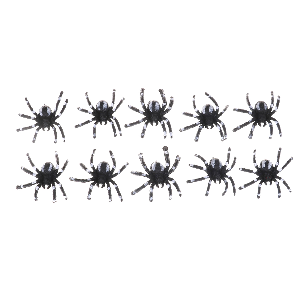 5pcs/lot 4.5cm Small Black Plastic Fake Spider Toys Novelty Funny Joke Prank Realistic Props Halloween Decorative Spiders