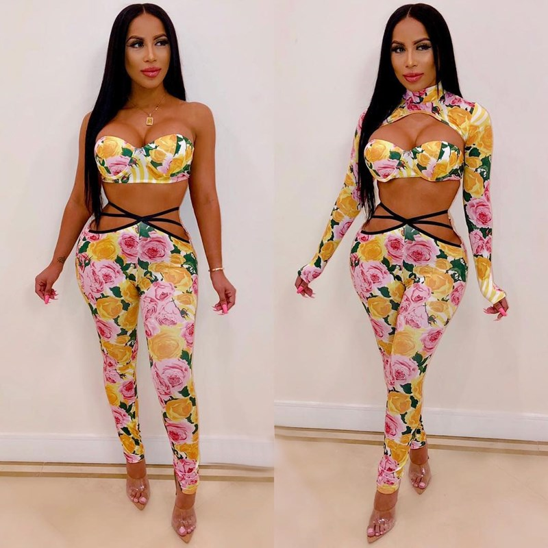 Fashion Nice Women Floral Print Bandage 3 Piece Set Sexy Hollow Out Club Outfits Crop Top And Long Pants Matching Sets