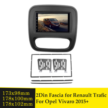 Double 2 Din Radio Fascia for Opel Vivaro for Renault Trafic 2015+ Car Stereo Frame Installation Dashboard Dash Kit Panel Bezel image