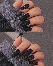24pcs Full Cover Nail French Tips Detachable Long Ballerina False Nails with Design Black Particles Nail Art Wearable Fake Nails