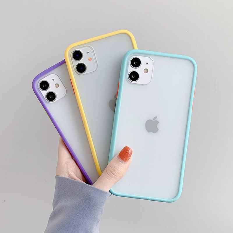 Mint Hybrid Einfache Matte Stoßstange Telefon Fall Für iPhone 11 Pro Max XR XS Max 6S 8 7 Plus stoßfest Weiche TPU Silikon Klar Abdeckung