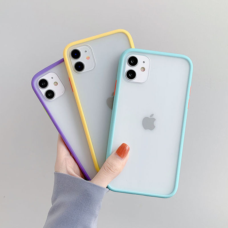 High Quality Mint Hybrid Simple Matte Bumper Phone Case For iPhone Mobiles 4