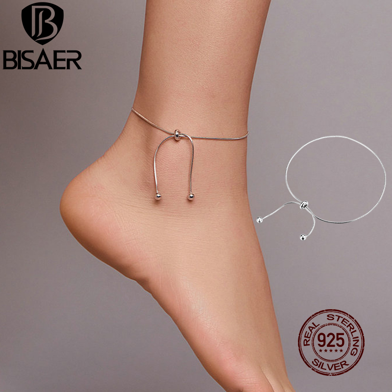 BISAER Stylish Simple Anklets 925 Sterling Silver 25cm Adjustable Foot Chain Anklet For Women Feet Leg Link Jewelry ECT016