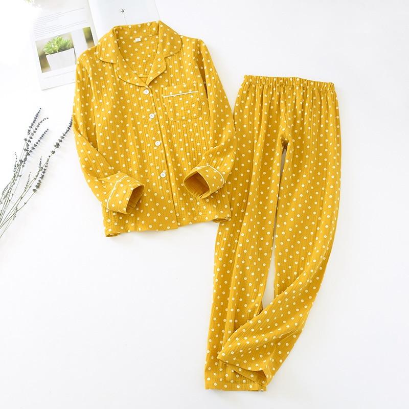 Men and Women Polka Dot Long Sleeve Trousers Cardigan Loose Crepe Sleep Clothes Suit Couple Cotton Pajamas Women