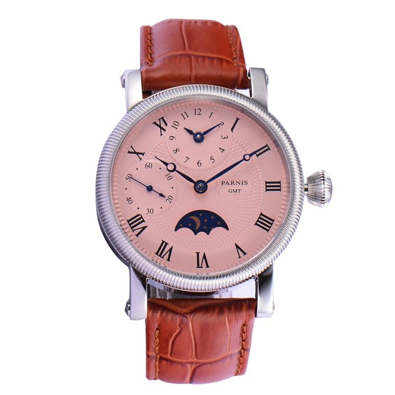 Parnis 42mm Handwind Mechanical Watch Men Wrist Stainless Steel Case Leather Strap Waterproof GMT Moon Phase Wristwatch Men