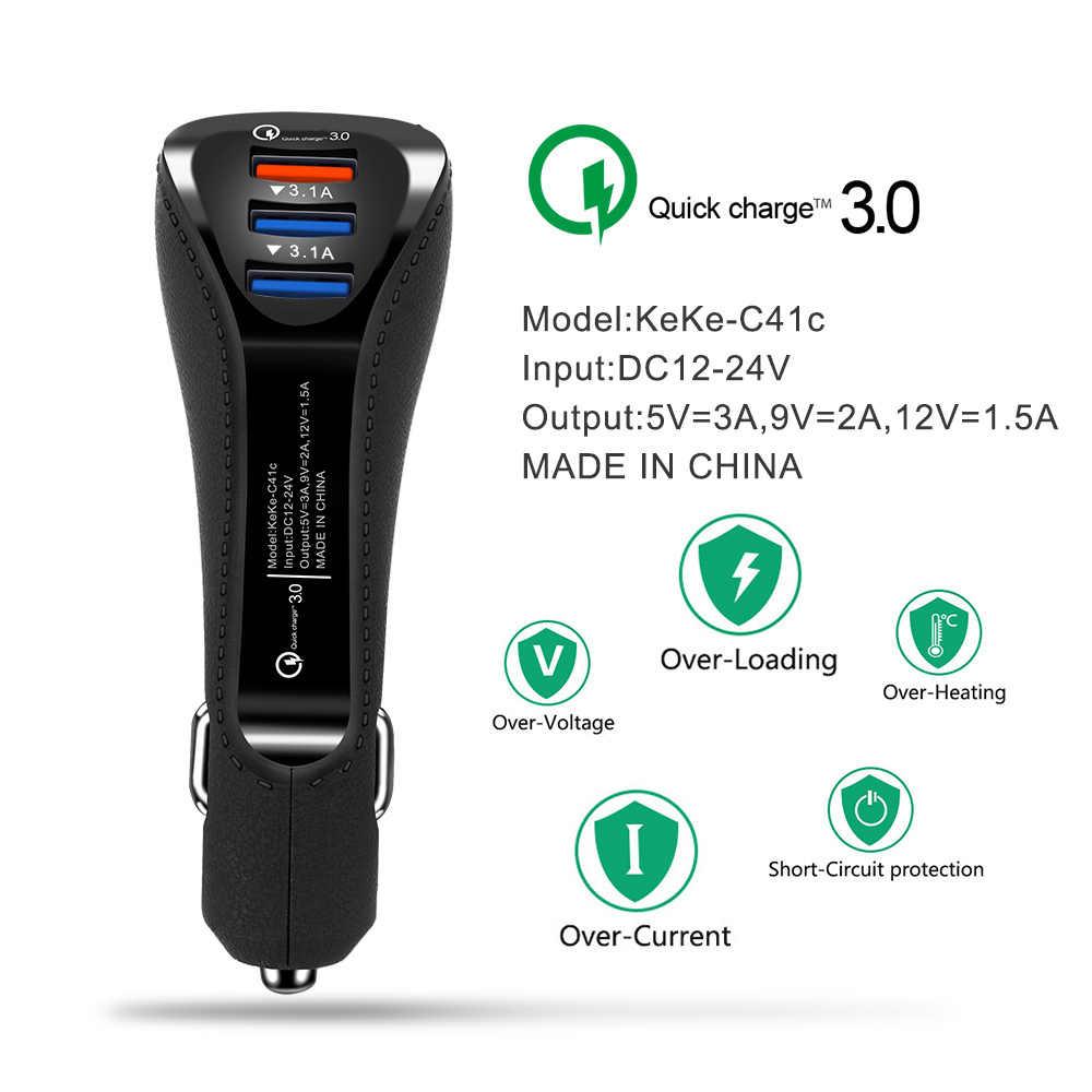 QC 3,0 cargador rápido 3.1A cargador de coche de 3 puertos USB adaptador de cargador de teléfono inteligente para usb Android tipo C cable cargador para iPhone