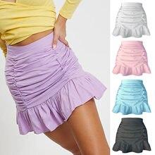 Verão mulher kawaii mini saias pequenas floral ruffle moda meia-comprimento saia de cintura alta retalhos plissado fishtail saia lg30