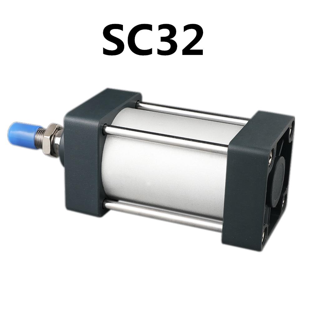 SC32 Padrão Cilindros De Ar 32 milímetros Furo Duplo Efeito Cilindro Pneumático SC 50/75/100/125/ 150/175/200/250/300mm Curso Venda Quente