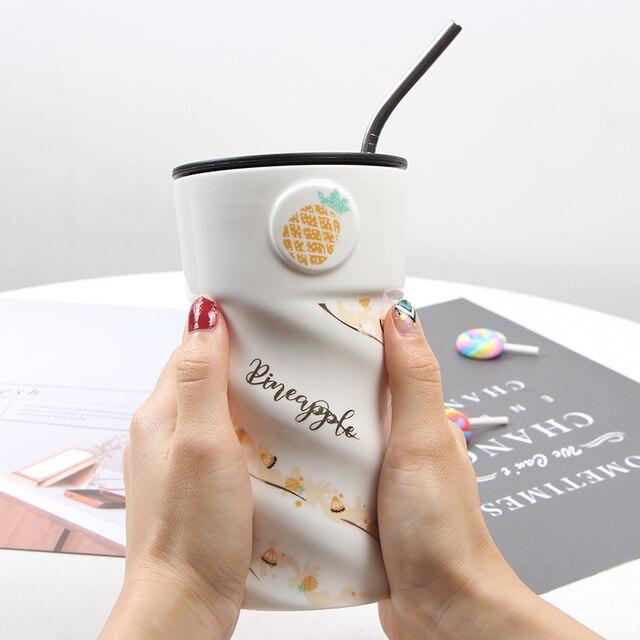 Marque en céramique créative personnalisée   Fille de grande capacité, tasse à café au lait de 500ml, bureau, jolie tasse à lait, tasse à eau envoi de paille