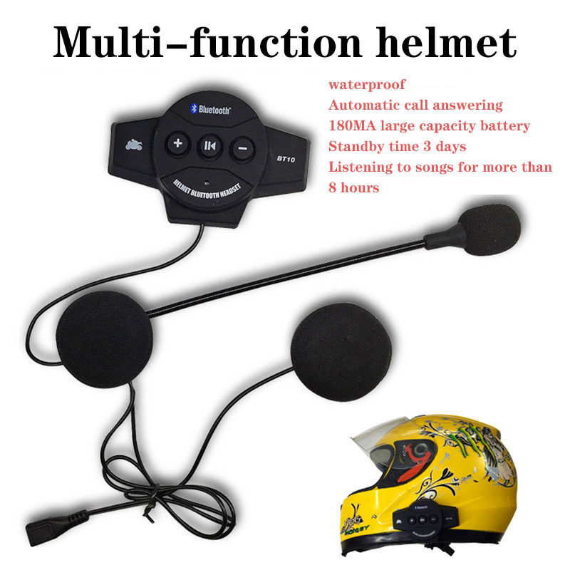 Bluetooth Motorcycle Helmet Headset Motorbike Handsfree Headset Headphone Intercom For Music GPS Car Styling  Dfdf