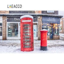 Laeacco Winter Snow Telephone Booth Store  Scenic Photographic Backgrounds Customized Photography Backdrops For Photo Studio 10x20ft snow winter scenic photographic theme background hand painted muslin photography christmas backdrops k2020
