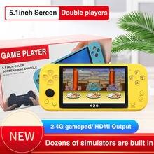 X20 5.1 polegadas grande tela arcade rocker handheld jogadores de jogo embutido 8g hanheld console de jogo suporte sem fio/wired gamepads