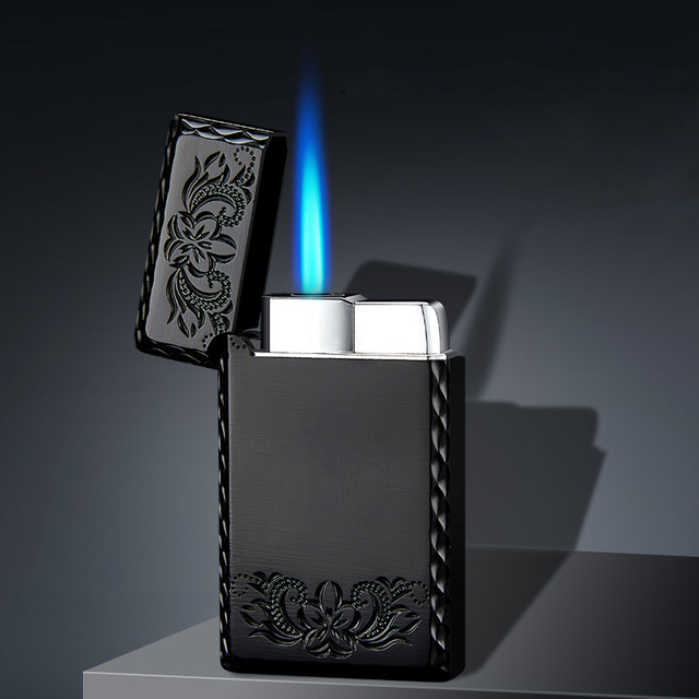 2020 New 1300C Blue Flame Butane Turbo Lighter Square Mini Gas Lighter Metal Lighters Smoking Accessories Cigarettes Lighters 2