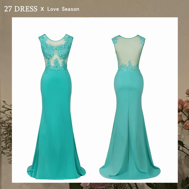 New Arrival Green Lace Mermaid Prom Dresses Long Sexy Illusion Sleevess Evening Party Dresses Vestido de Festa 1