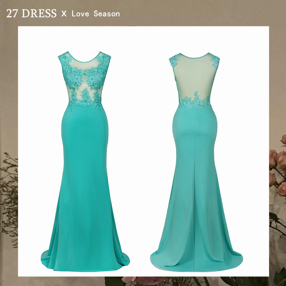 New Arrival Green Lace Mermaid Prom Dresses Long Sexy Illusion Sleevess Evening Party Dresses Vestido de Festa