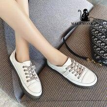 MALEMONKEY 033176 Fashion Genuine Leather Ladies shoes Flats White 2020 Spring A