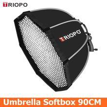 Triopo 90cm octagon guarda chuva softbox com favo de mel grade para godox flash speedlite fotografia estúdio acessórios caixa macia