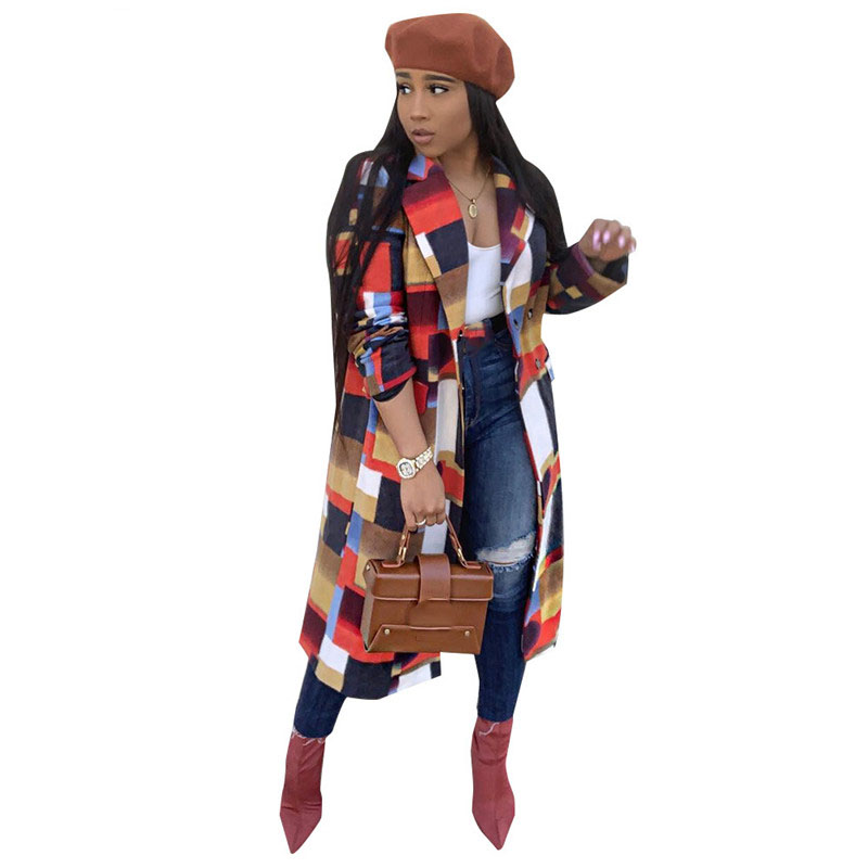 Spring Slim Casual Long Outwears Turn-Down Collar Women Full Sleeve Open Stitch Plaid Coats Leather Trench Coat