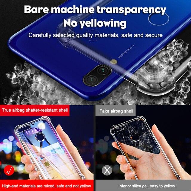 Coque de téléphone en Silicone antichoc de luxe pour Xiaomi Redmi note 8 7 5 Pro Redmi 7A Xiaomi mi 9t 9 A3 housse de Protection transparente 5