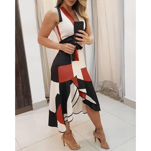 Summer V-neck dress  Sleeveless Contrast Printing Ladies Dresses 3