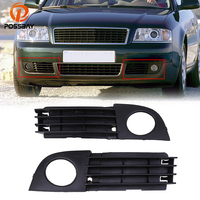 POSSBAY Car ABS Plastic Front Left/Right Bumper Fog Light Lamp Cover Grille for Audi A6 C5 Sedan&Avant 2002-2005 Facelift