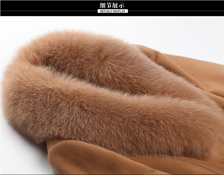 Kadın yün karışımları ceket bahar sonbahar 2020 moda anne kürk yaka yün ceket Med uzun kabanlar Tops kadın boyutu M-3XL