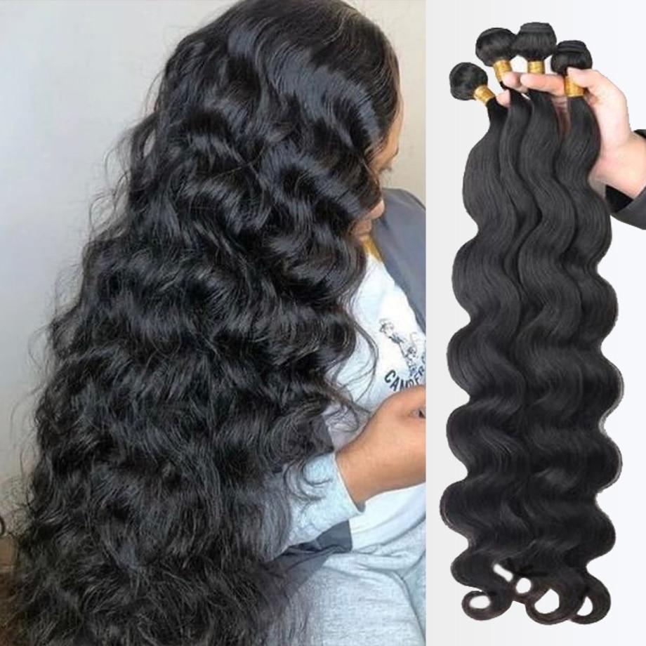 Волнистые пряди для наращивания, 100% человеческие волосы, бразильские волосы Remy для наращивания, предложения для черных женщин 28 30 дюймов 3 4 пряди Пряди для вплетания      АлиЭкспресс