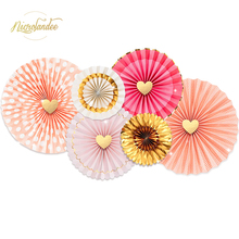 NICROLANDEE 6PCS/SET Pink and Gold Foil Hot-Stamp Hanging Paper Fans for Wedding Engagement Birthday Bridal Shower Party Decor