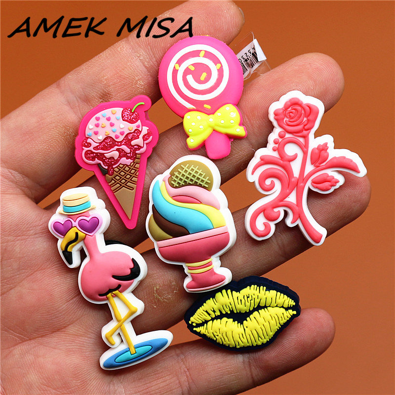 Novel Single Sale Pink Style Shoe Charms Accessories Cute Ice Cream Garden Shoe Decoration For Croc Jibz Kid's X-mas Gifts U119