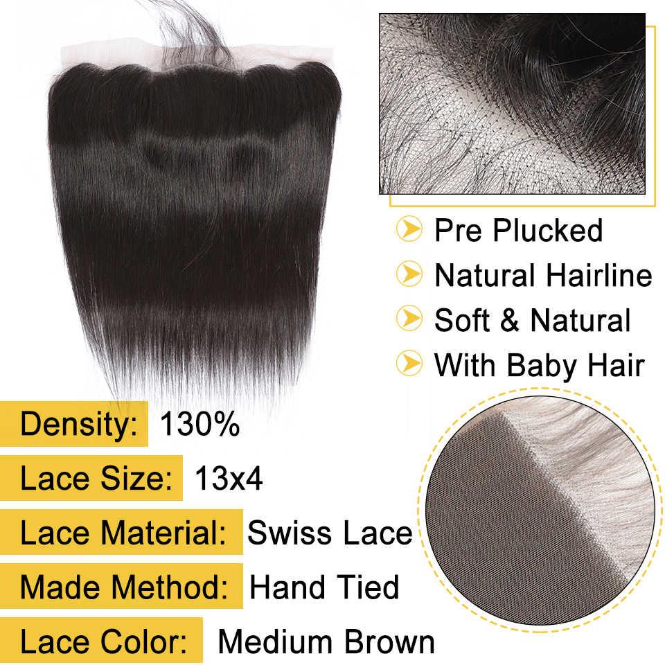 Vrvogue peruano feixes de cabelo reto com frontal cor natural feixes de cabelo humano com 13x4 rendas fechamento frontal remy 4 pçs