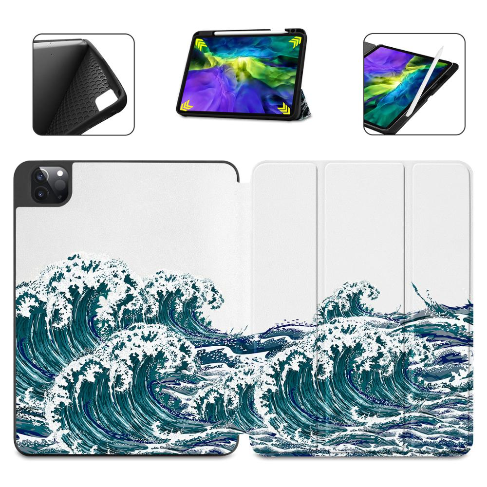 Flowers Print Case for Apple iPad Pro 11 2020 2018Full Body Protective Rugged Shockproof Case with