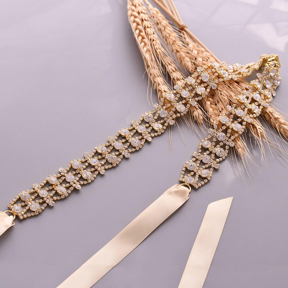 TRiXY S414 Golden Silver Rhinestone Belt Wedding Dress Belt Handmade Crystal Wedding Belts Bridal Ribbon Sash Belt Diamond Belt