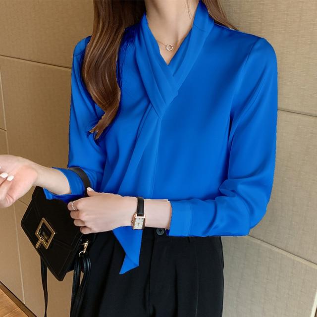 Chikichi 2021 Korean White Chiffon Shirt Women Spring and Autumn Tops Office Ladies Satin Blouse Women Long Sleeve 2